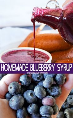 Homemade Blueberry Syrup is a quick & easy addition to breakfast. Just 3 ingred… Homemade Blueberry Syrup is a quick & easy addition to breakfast. Just 3 ingredients & you have the perfect sauce for pancakes, waffles or even ice cream. Raspberry Syrup, Blueberry Sauce, Blueberry Recipes, Blueberry Syrup Recipe For Canning, Blackberry, Jam Recipes, Fruit Recipes, Sweet Recipes, Dessert Recipes