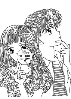 boy and girl anime coloring page to print new coloring pages art