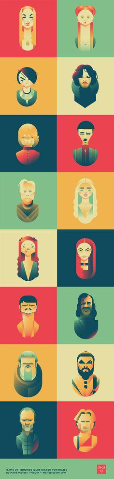 Game of Thrones vector illustrated caricature portraits by Maria Picassó i…