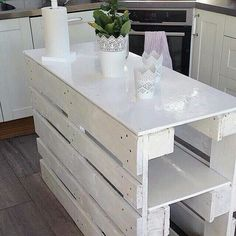 Nice rustic kitchen island with storage. ...