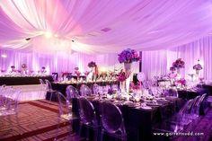 Exquisite #colorwash #uplight lighting transform this venue! Great photo via #thepinkbride #garrettnudd