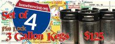Set of 3 - Three Gallon Pin Lock Kegs - $125