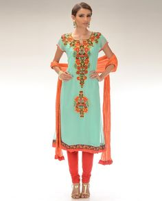 mint green and orangey-red. gorgeous.