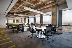 Office floor plan, open ceiling, open office, office lighting, commercial i Vaulted Ceiling Lighting, Open Ceiling, Open Office, Corporate Interiors, Office Interiors, Layout Design, Office Floor Plan, Office Lighting, House Lighting