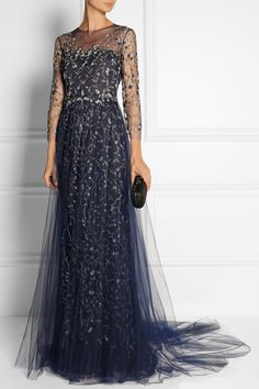 Marchesa|Embellished tulle gown|NET-A-PORTER.COM EDITORS' NOTES & DETAILS Elegant and ethereal, Marchesa's navy gown is a standout choice for your next formal event. This form-fitting style has all-over embellishments, stretch-silk lining and a tulle skirt overlay that falls to a soft train. Finish your look with metallic sandals and a box clutch.