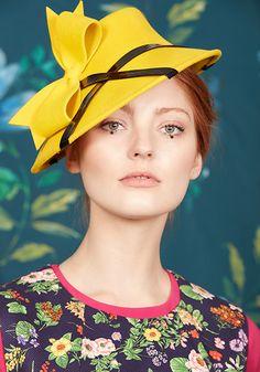 Yellow velour felt percher with black patent and bow Winter 2017, Fall Winter, Autumn, Fascinators, Headpieces, Rachel Trevor Morgan, Colour Yellow, Color, Yellow Clothes