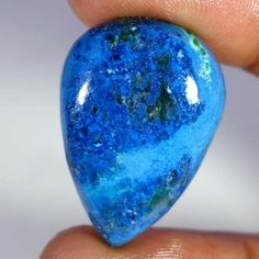 39.60Cts. Natural Blue Azurite With Green Malachite Pear Cabochon Loose Gemstone #Handmade