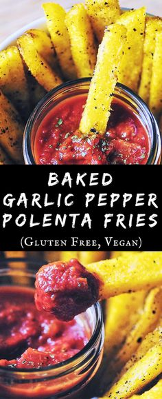 Baked Garlic Pepper Polenta Fries (Gluten Free, Vegan)