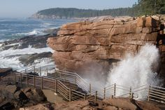ACADIA NATIONAL PARK. Thunder Hole is a narrow channel of solid granite that beckons visitors with thunderous booms. When waves come in strong & quick, air gets trapped in a cavern that is higher than the inlet. When enough force pushes the waves into the cavern, the air escapes with a thunderous reverberation.