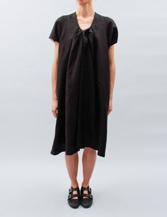 United Bamboo Tie Front Dress- Black Linen