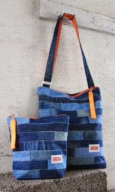 Bag and cosmetic bag made of recycled jeans.