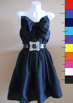 VINTAGE HARAH DESIGNS COTTON BLEND COCKTAIL KNEE LENGTH STRAPLESS DRESS