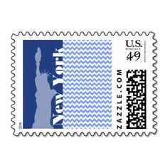 New York, Statue of Liberty; Blue Chevron Stamps