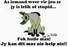 As iemand vir jou sê jy is lelik of stupid. Twisted Humor, Afrikaans, Good Morning Quotes, Stupid, Lol, Words, Memes, Funny, South Africa