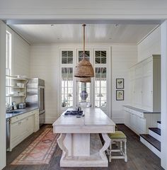 classic/custom Bill Ingram designed home. The home has that feel that just exudes quality.from the gated entry to the carriage house, to the. New Kitchen, Kitchen Dining, Kitchen Decor, Country Kitchen, Kitchen Island, Kitchen Ideas, Kitchen Runner, Island Table, Kitchen Lamps