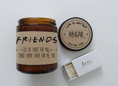 Friends Candle Gift. 9 ozHand Poured Soy Candle. Completely Handmade in Astoria, Oregon. Comes ready to gift in a lovely gift box.Perfect Holiday Gift or Anytime Gift! -TO ORDER- After purchase, please email your personal message for the candle lid tousatdefinedesign11@gmail.com Candle Scent Name For Candle Lid (Who