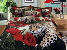 Luxury animal leopard print duvet cover set #leopard #rose #homedecor #interior #beddinginn Live a better life, start with Beddinginn http://www.beddinginn.com/product/100-Cotton-Luxury-Animal-Leopard-Roses-Printed-Duvet-Cover-Bedding-Sets-10529171.html