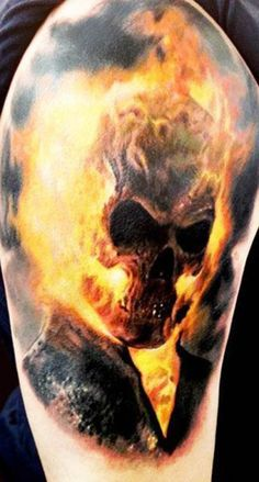 Don't let the Nic Cage movies fool you, Ghost Rider is a fuckin' awesome comic book character. #inked #Inkedmag #tattoo #skull #flame #colorful #art
