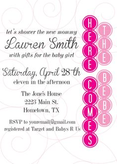 Here Comes the Bebe  Baby Shower Invitation by stellajenn on Etsy, $12.00