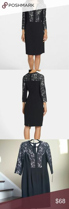 "30% BUNDLES 🎉 ELIZA J Lace Dress Gorgeous lace panel crepe shift dress from Eliza J. Romantic lace panels add feminine grace to a visually slimming shift dress cut with a notched neckline and three quarter sleeves from smooth , high twist crepe. Comes with hidden back zip closure, fully lined.  Shell 98% Polyester, 2% Spandex. Combi 55% Nylon, 45% Cotton. Lining 100% Polyester. Approx. measurements size 8: bust 35"", waist 30"", hips 39"", length shoulder to hem 39.5"". Eliza J Dresses"