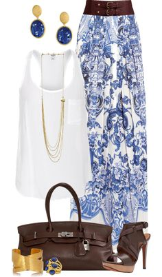 """""""Casual Blue Maxi Skirt"""" by angela-windsor on Polyvore... I'd probably do sandals and no belt with more boho-looking accessories"""