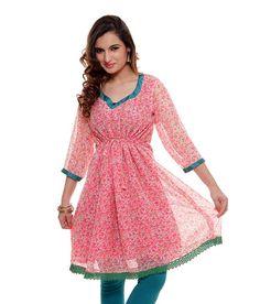 Latest Designer Casual Look Pink Color Printed #CasualKurti