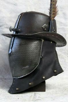 Leather hat with fencing screen, cowl. Fantasy Armor, Medieval Fantasy, Tactical Swords, Larp Armor, Armor Clothing, Armadura Medieval, Medieval Weapons, Leather Armor, Armor Concept