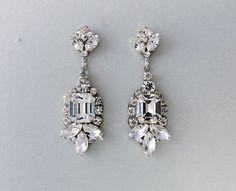 DIANNA: Wedding Earrings - Chandelier Earrings, Gatsby Earrings - Swarovski Crystals - Deco Style Bridal Earrings — Ambrosia Bridal