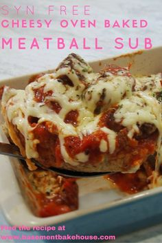 Syn Free Baked Meatball Subs - Recipe - Slimming World - Basement Bakehouse - Healthy Extra A - Healthy Extra B (health snacks slimming world) Baked Meatball Subs, Meatball Sub Recipe, Oven Baked Meatballs, Meatball Bake, Meatball Recipes, Slimming World Fakeaway, Slimming World Dinners, Slimming Recipes, Slimming World Recipes Extra Easy