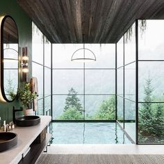 "Andrea Shapiro on Instagram: ""HEAVEN ☁️ Talk about #bathroomgoals!! This tub feels like an infinity pool into the mountains. #inspiration #designinspo #basquecountry…"" Dream House Interior, Luxury Homes Dream Houses, Modern Interior Design, Interior And Exterior, Bathroom Graffiti, Deco Addict, Natural Interior, Dream Bathrooms, Bathroom Renovations"