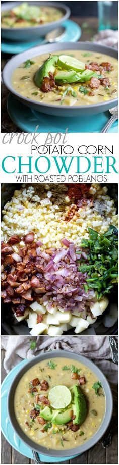 Soup is one of the stars of the fall but this Crock Pot Potato Corn Chowder with Roasted Poblanos is gonna take the cake! It's full of bold flavors, easy to make, gluten free, dairy free, and has BACON!   joyfulhealthyeats.com #paleo