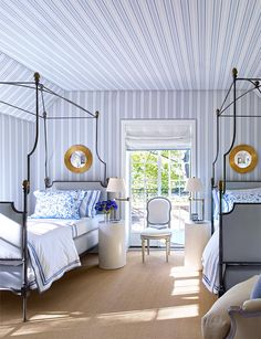 A gorgeous guest bedroom in a Houston Townhouse( the same home as in my previous post )🌳 Walls lined with a Bennison stripe🌳The beautiful beds from John Rosselli & Assoc🌳Bruce Budd 🌳photo courtesy of Architectural Digest 🌳 . Guest Bedrooms, Room, Interior, Home, Home Bedroom, Bedroom Design, Striped Bedroom, House Interior, Interior Design
