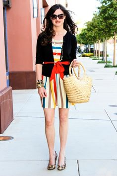 Striped dress. Animal print pumps act like a neutral so this look totally works.
