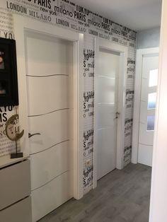 Trabajo realizado en Parla (MADRID)Puertas blancas calidad ultralacado con aluminio incrustado ondulado   Puertas Innova S.L.U