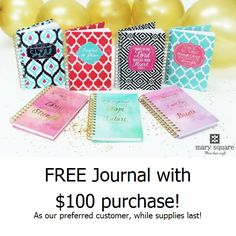 Free Journal from @MarySquare with $100 purchase at #WalkOnWaterBoutiques While supplies last!
