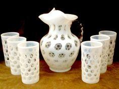 Antique Glassware FENTON Thmbprint Opalescent Pitcher 6 Glasses Milk White RARE