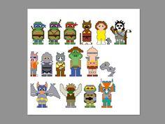 Teenage Mutant Ninja Turtles Pixel People (Cross Stitch or Perler)