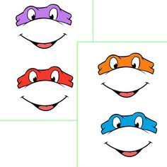 INSTANT  Download - Ninja Turtles EYES with mouth -for Balloon, Stickers, Lollipop, Favor bags