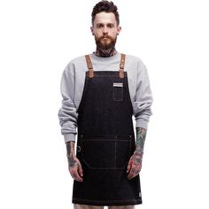 Denim Point Leather Unisex Apron (Black) by ARC1 -Denim & Synthetic leather strap apron for barista, chef, kitchen, carpenter, etc. ★When you purchase, please leave your phone number in Add optional note to seller in order to write on the package for accurate delivery.★ Not normal ! Rather be dead than cool. Handicraft denim apron made from best quality raw denim with a large side pocket, a pencil pocket on chest and adjustable soft brown synthetic leather straps. Very sophisticated da...
