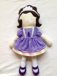 Sofia the First  • Doll is 19 inches tall, 100% cotton, and felt, with polyester fiberfill. • Skirt is removable  • All dolls are handmade by me in a smoke/pet free home.