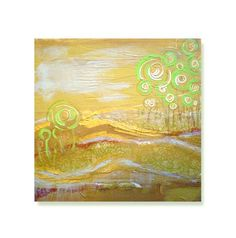 landscape painting print - contemporary fine art - gold impressionist landscape - fall autumn. $20.00, via Etsy.