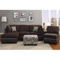 Hollywood Decor Reversible & interchangeable Sectional set in Brown Finish with Free accent Pillows at Sears.com; $628, armless chair & accent ottoman cost extra