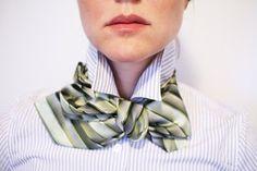 Birdie green stripe bow tie - Lilian Asterfield.