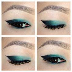 Style By Cat: EOTD: Teal Ombre Cat Eye #monolid #cateye
