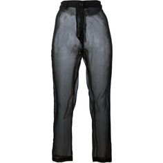Ann Demeulemeester sheer trousers (320 CAD) ❤ liked on Polyvore featuring pants, bottoms, black, trousers, sheer trousers, transparent pants, ann demeulemeester, ann demeulemeester pants and sheer pants