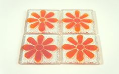 Fused Glass Green Flower Daisy Coasters Set of 4 by GlassRelief