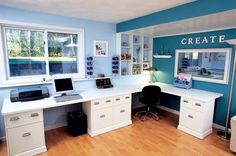 Love the fresh look of teal and white for an office