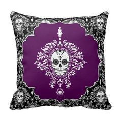 Shop Dead Damask - Chic Sugar Skulls Throw Pillow created by creativetaylor. Sugar Skull Decor, Sugar Skulls, Custom Pillows, Decorative Pillows, Day Of The Dead Artwork, Damask Bedding, Skull Pillow, Unique Housewarming Gifts, Goth Home