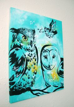 Acrylic Barn and Horned Owl Painting on 11x14in Canvas