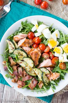 Whole30 Grilled Salmon Cobb Salad